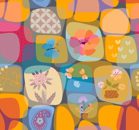 Funny seamless patchwork pattern with transparent patches in kid style. Vector summer design. Illustration