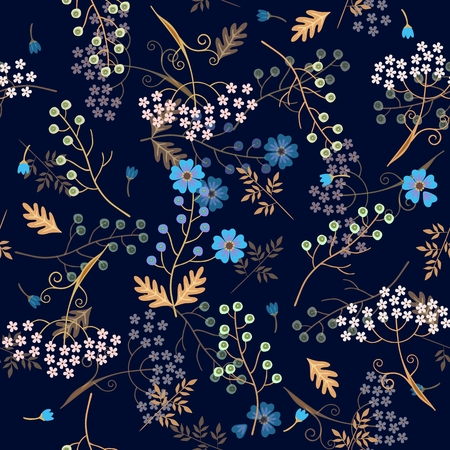 Seamless floral pattern with 3d effect. Beautful spring design. Stylized flax and umbrella flowers, green bird cherry berries and leaves on dark blue background.