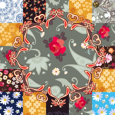 Beautiful endless patchwork pattern with stylized mandala in vector. Cushion, pillowcase, ceramic tile. Ethnic motives.