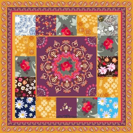 Patrón de mosaico cuadrado con mandala, rosa, margarita, flores de cosmos y borde de paisley en vector. Motivos étnicos. Estilo boho.