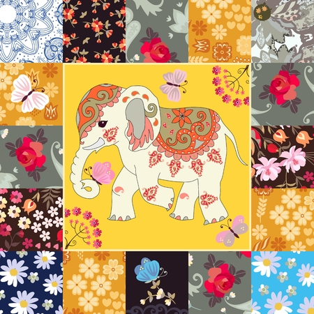 Beautiful square card with cute cartoon indian elephant in patchwork style. Napkin, cushion, fragment of blanket. Ethnic motives. Vector summer design.