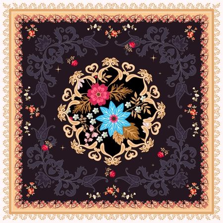 Tea box packaging, carpet or silk scarf with stylized mandala, flowers and paisley ornament on black background in vector. Ethnic motives.