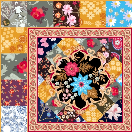Fragment of beautiful patchwork blanket with stylized mandala, paisley border and cute flowers in vector. Indian, indonesian motives. Stylization.