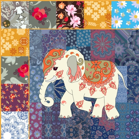 Fragment for blanket in patchwork style with cute cartoon little indian elephant in vector. Ethnic motives.