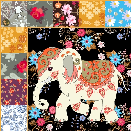 Fragment of a quilt with an Indian elephant and flowers. Vector illustration. Ethnic motives. Vector Illustration