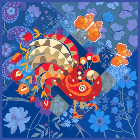 Cute square card with fairy peacock and orange butterflies on blue patchwork background in vector. Indian, indonesian, thai motives. Ilustrace