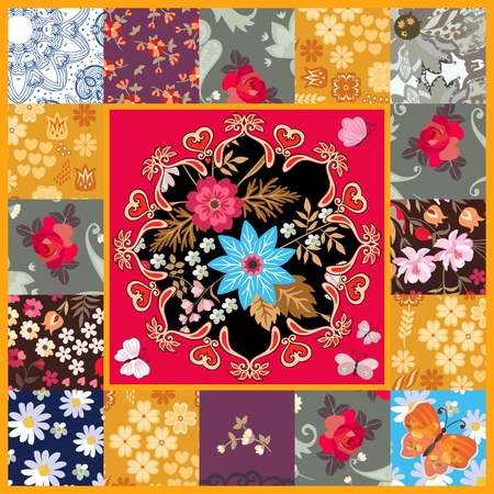 Square patchwork pattern with stylized mandala on red background, butterflies and various flowers in vector. Country style. Vector Illustration