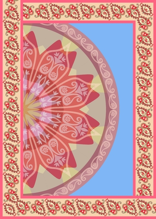 Vertical card with paisley frame and half of mandala on sky blue background in vector. Towel. Ethnic motives.