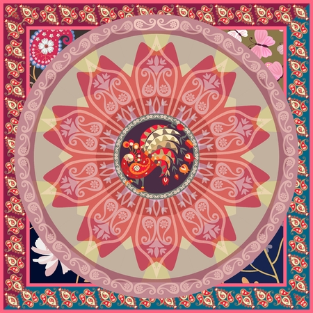 Beautiful square blanket, rug or tea box template in ethnic style with mandala flower, funny peacock and paisley border in vector. Indian, thai motives. Ethnic style. Patchwork.
