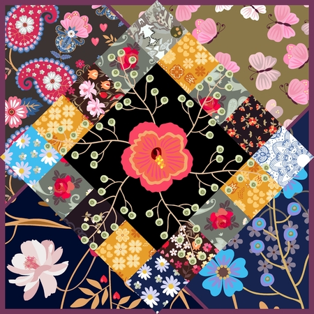 Beautiful patchwork pattern with cosmos and hibiscus flowers, paisley and butterflies. Cute square card, tea box package. Vector summer design. 矢量图像