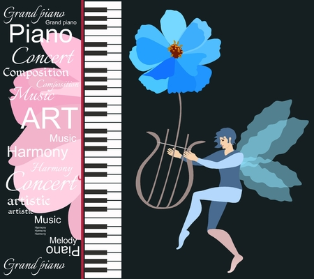 Musical banner with piano keys, pink petals of cosmos flower and winged elf dancing with lyre on a black background in vector. Illustration