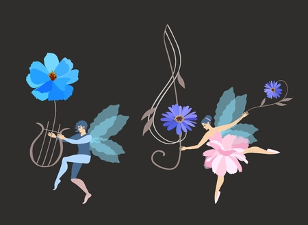 Dancing beautiful winged elf and fairy with a flower lyre and a treble clef isolated on a black background. Musical Vector Illustration.