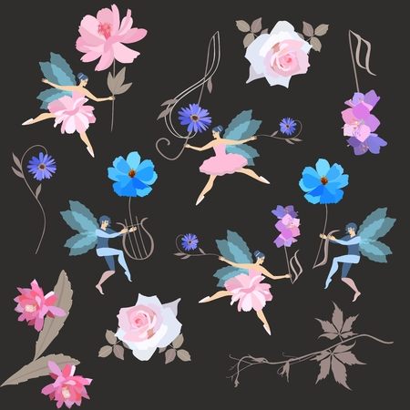 Infinite musical magic pattern. Winged fairies in ballet tutus and elves dance with beautiful garden flowers, treble clef and lyre isolated on black background. Vector illustration.