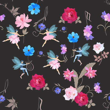 Seamless musical magic pattern. Winged fairies in ballet tutus and elves dance with beautiful garden flowers, treble clef and lyre isolated on black background. Vector illustration. Wallpaper, fabric.