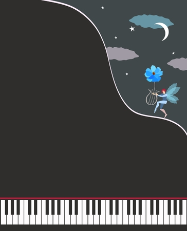 Unusual template for musical poster.  An open black grand piano and small winged elf with lyre climbing mountain. Moonlit night. Space for text. Vettoriali