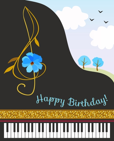 Black concert grand piano, treble clef in shape of cosmos flower, golden ribbon and spring landscape. Happy birthday greeting card. Stock Illustratie