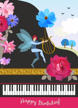 Happy birthday greeting card in vintage style. Black grand piano, winged elf with lire in shape of cosmos flower, spring landscape and beautiful garden flowers in vector. Vettoriali