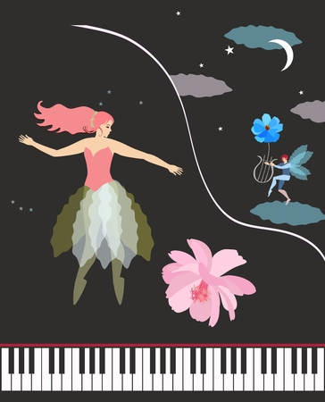 Concert grand piano, cute ballerina, winged elf with lire, moon, stars and clouds in night sky and blue and pink gentle flowers in vector. Musical banner or invitation card.