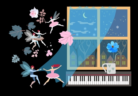 Sweet dreams. Winged fairies and elves swirling in the dance along with the autumn leaves. Swaying transparent curtain, window with winter landscape, piano keyboard and blue flower in the mug.
