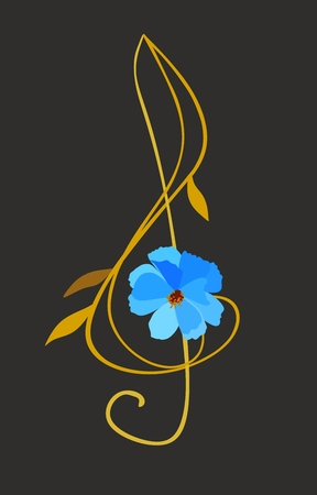 Treble clef in shape of blue cosmos flower with golden stem and leaves isolated on black background. Musical logo in vector. Illustration