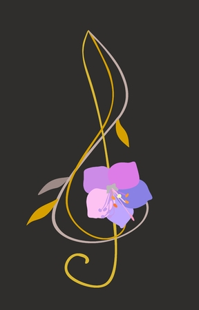 Treble clef in shape of bell flower isolated on black background. Musical logo in vector. Illustration