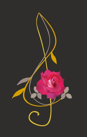 Treble clef in shape of red rose with golden stem isolated on black background. Musical logo in vector.