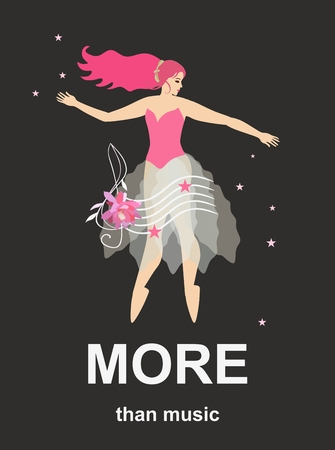 More than music. Template for banner with fairy ballerina, stars, treble clef in shape of pink flower and musical staff on black background in vector. Vertical card.