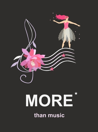 Banner with treble clef in shape of cactus flower, musical notes in form of stars and fairy ballerina dancing on musical staff  isolated on black background in vector. Creative design.