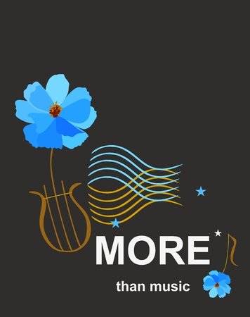 Template for musical banner with lyre in shape of blue cosmos flower and waves ornament symbolizing musical staff isolated on black background in vector.