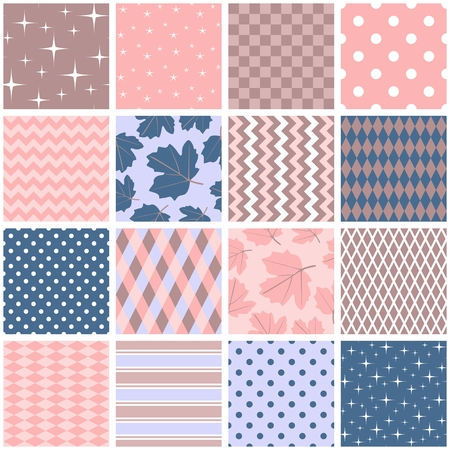 Beautiful seamless patchwork in pink, blue and brown colors. Square patterns with leaves, stars, polka dot, zigzag and rhombus in shabby chic style. Vector illustration. Quilting design. Illustration