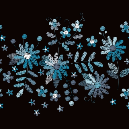 Floral embroidery. Horizontal seamless border with blue flowers and leaves on black background. Vector illustration. Illustration