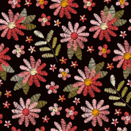 Embroidery seamless pattern with pink flowers and green leaves on black background. Romantic floral design for fabric, textile, wrapping paper, print, cards. Vector illustration. Illustration
