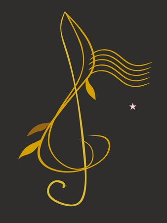 Golden treble clef in shape of plant stem with little leaves isolated on black background in vector. Musical logo.