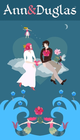 Wedding invitation template. The bride and groom hold the heart in their hands, sitting on the clouds flying over the ocean. Vertical vector card. Mermaids and elf with lyres in shape of flowers.