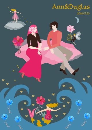 A fabulous wedding invitation. The bride and groom fly across the sky on pink clouds, a small winged elf plays the lyre, a fairy showered lovers with stars. Vector illustration.