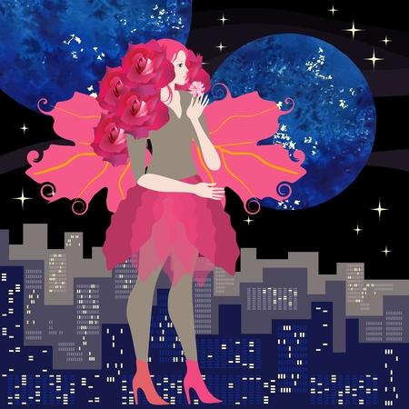 Linda adolescente con el pelo rizado en forma de rosas y alas carmesí en forma de hojas de viburnum, con flor rosa en sus manos se encuentra de lado contra el fondo de la gran ciudad y el cielo nocturno.
