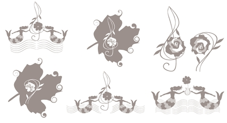 Set of cute music emblems with bass and treble clefs and musical rulers in shape of oceanic waves, mermaids and leaves isolated on white background in vector. Elements for banner, poster.