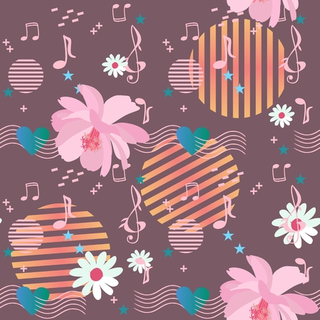 Joyful seamless pattern with cosmos and daisy flowers, musical rulers passing through the heart, music notes and signs, stars and elements in memphis style on chocolate color background in vector.