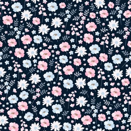 Ditsy floral de patrones sin fisuras en el vector. Lindas flores rosas y azules sobre fondo oscuro. Impresión de moda.