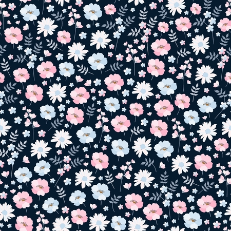 Ditsy floral seamless pattern in vector. Cute pink and blue flowers on dark background. Fashion print.