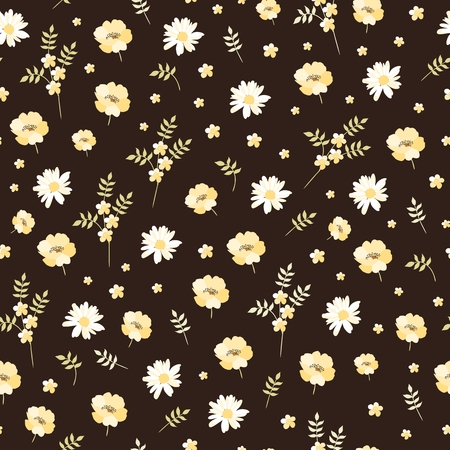 Cute seamless pattern with yellow and white flowers. Ditsy floral background in vector.
