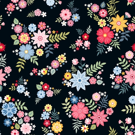 Lovely ditsy floral pattern with cute abstract flowers in vector. Seamless natural background. Print for fabric, gift wrapper. Vektorové ilustrace