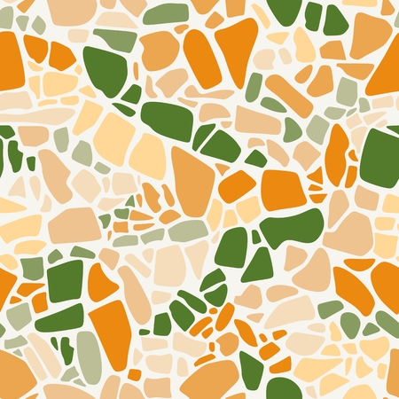 Terrazzo seamless pattern. Vector abstract background in vibrant colors.