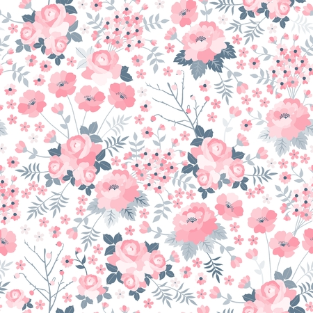 Tender seamless pattern with pink flowers on white background. Ditsy floral illustration. Print for fabric, wrapping paper, wallpaper, bedding in vector.
