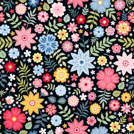 Patrón floral ditsy sin fisuras con pequeñas flores y hojas de fantasía en estilo popular. Ilustración de vector. Imprimir para tela, papel, papel tapiz, diseño de envoltura.