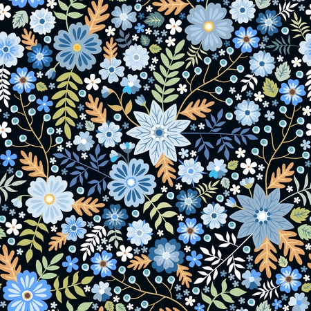 Seamless ditsy floral pattern with fantasy blue flowers and leaves in folk style. Vector illustration. Print for fabric, paper, wallpaper, wrapping design.