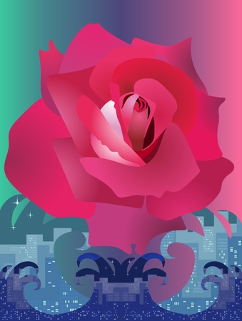 A vertical card with a great beautiful rose flying over a raging ocean that symbolizes a big city. Vector design.