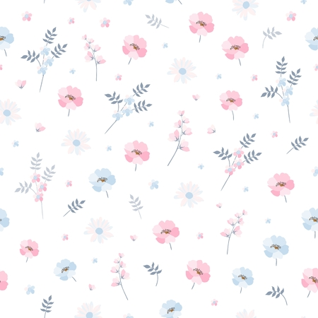 Delicate ditsy floral pattern. Seamless vector design with light blue and pink flowers on white background. Print for fabric, bedding, wallpaper.
