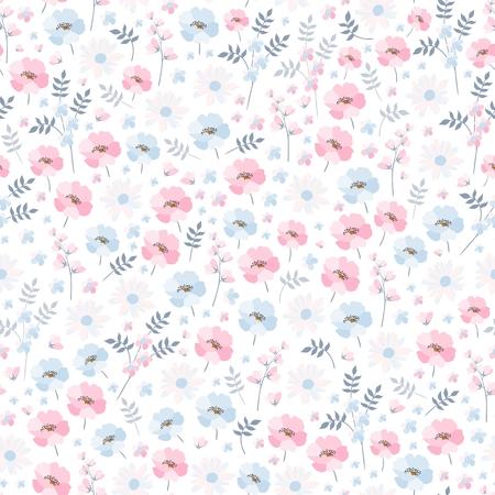 Inschrijving ditsy bloemenpatroon. Naadloos vectorontwerp met lichtblauwe en roze bloemen op witte achtergrond. Afdrukken voor stof, beddengoed, behang.