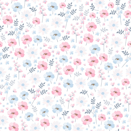Tender ditsy floral pattern. Seamless vector design with light blue and pink flowers on white background. Print for fabric, bedding, wallpaper.